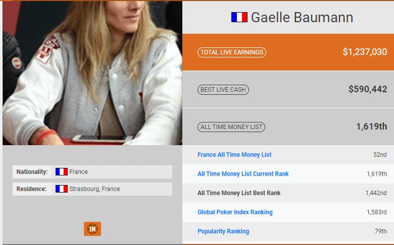 Gaëlle Baumann : biographie et ses exploits au poker